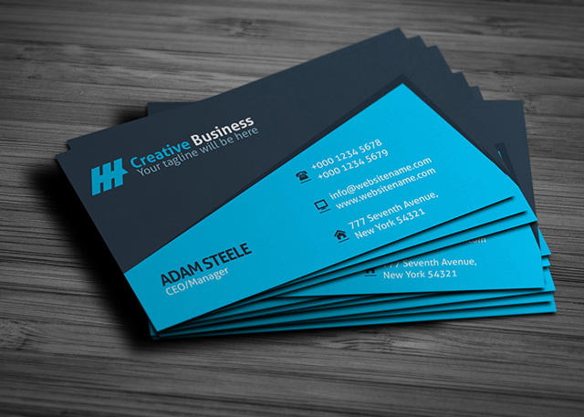 Blue creative business card template graphic pick blue business card template cheaphphosting Gallery