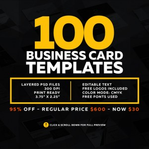 100 Modern Business Cards Bundle Graphic Pick
