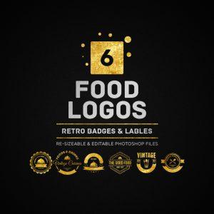 6 Food Logos, Retro Badges, Labels