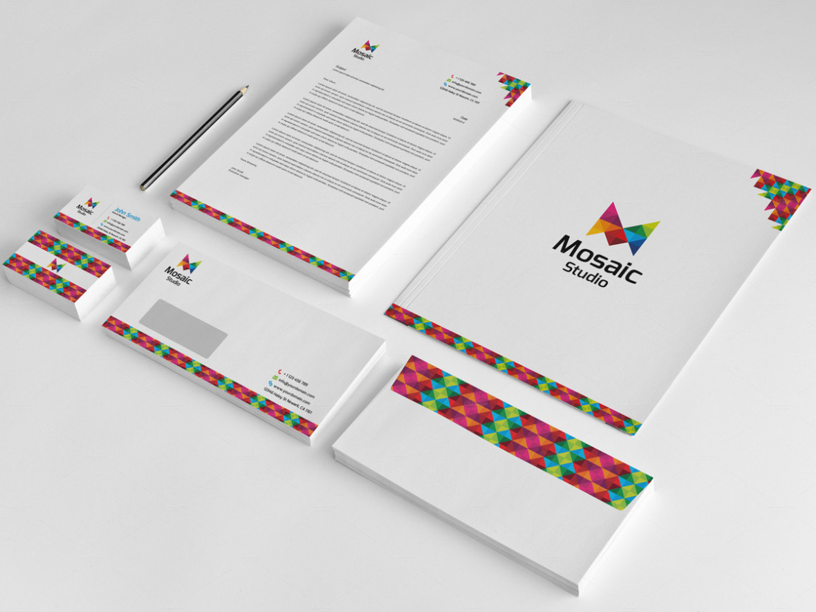 Creative Pixel Mosaic Corporate Stationery Design ...