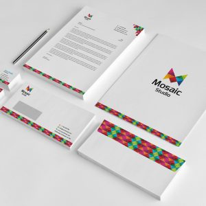 Creative Pixel Mosaic Corporate Stationery Design