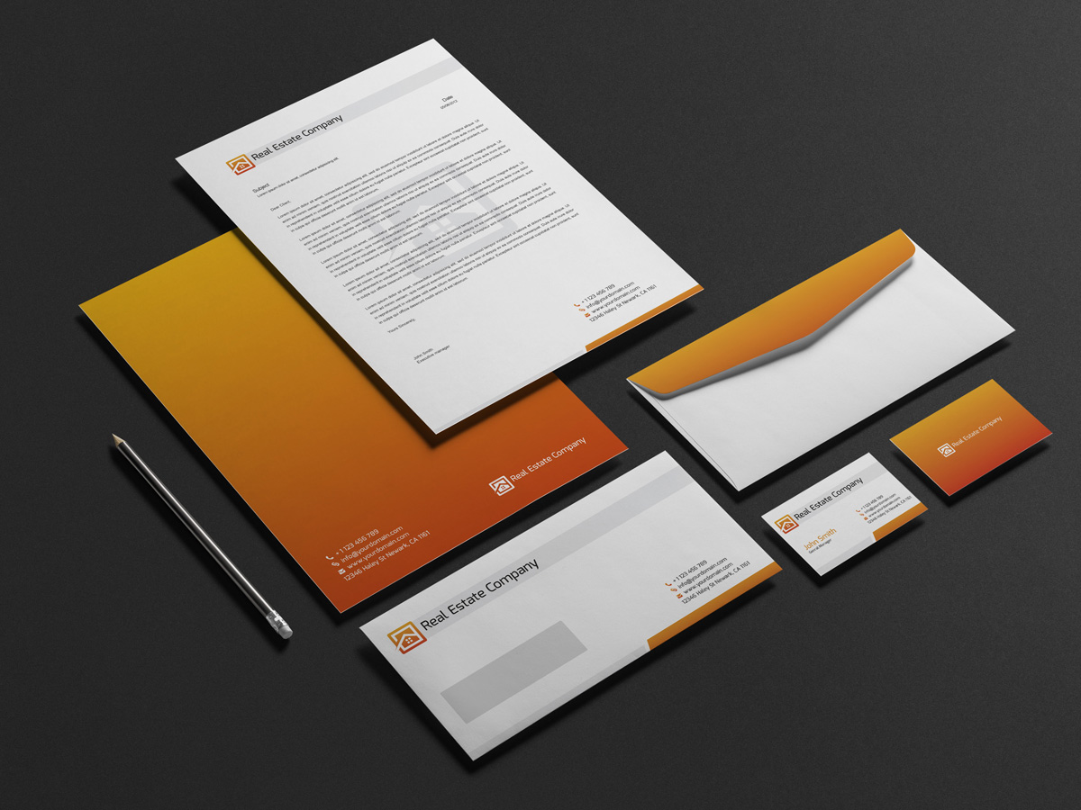 Real estate corporate stationery design graphic pick real estate corporate identity is specially designed for real estate business files are print ready with cmyk color mode easy to edit text and change magicingreecefo Choice Image