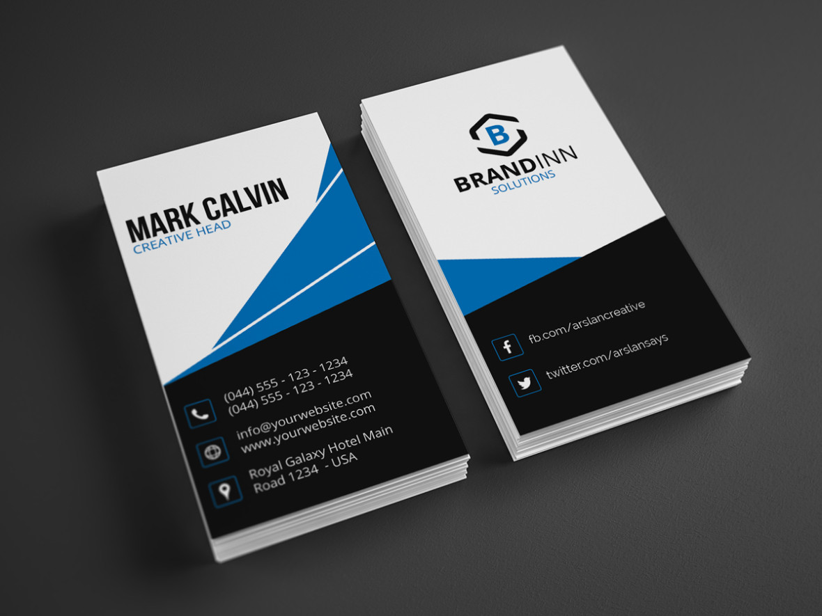 Modern vertical business card 24 graphic pick creative corporate business card is a modern and professional print template for company or business files are fully editable all elements are in high colourmoves