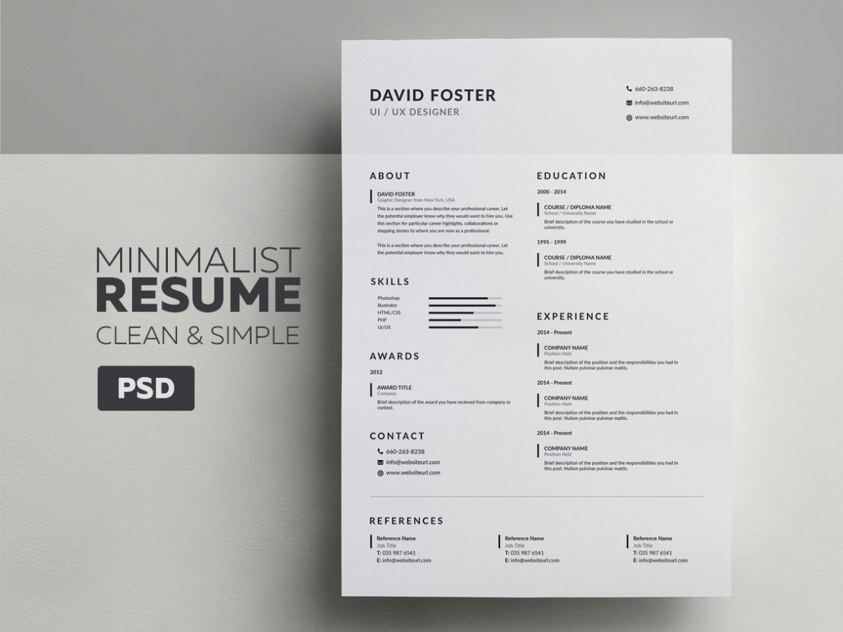 minimalist resume design
