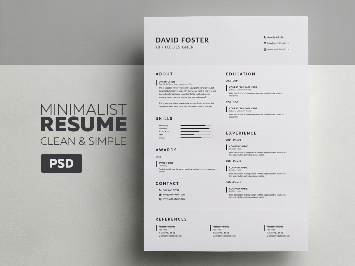 minimalist resume  cv - david
