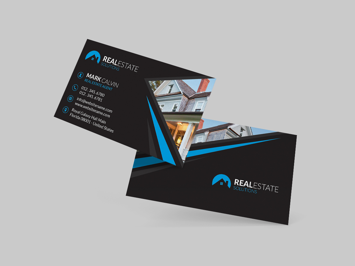 real estate business card dark